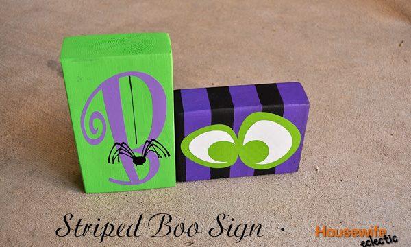 Striped Boo Halloween Sign
