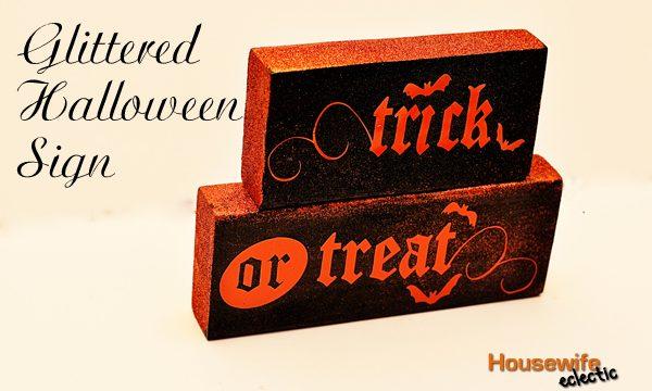 Glittered Halloween Sign
