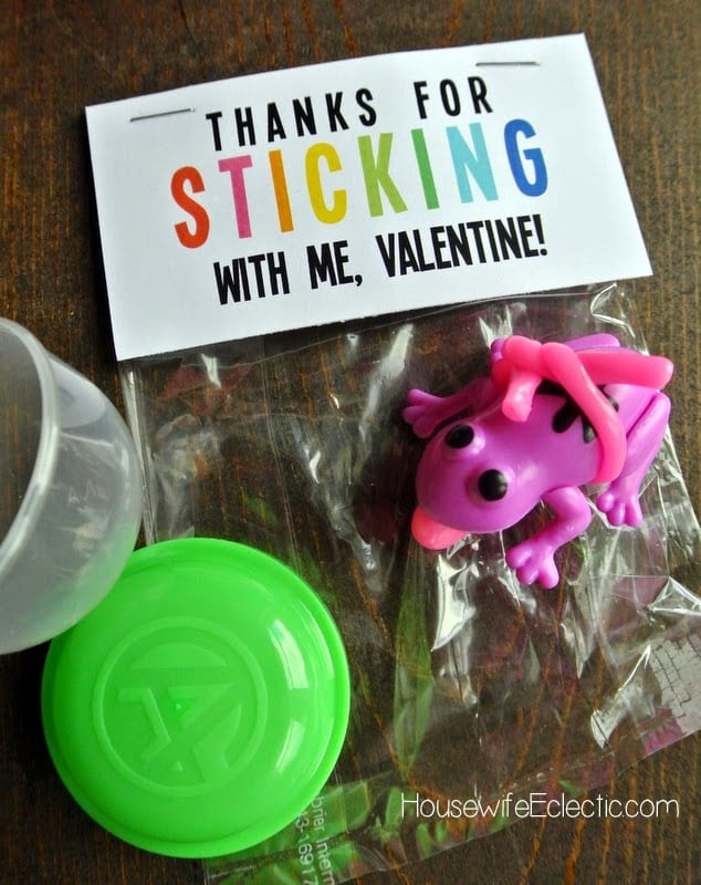 Free Printable Valentine Tag with 10+ Easy Gift Ideas - sticky hand type toy