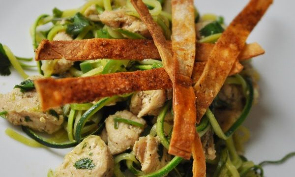 Cilantro Lime Chicken Zoodles with Homemade Baked Tortilla Strips