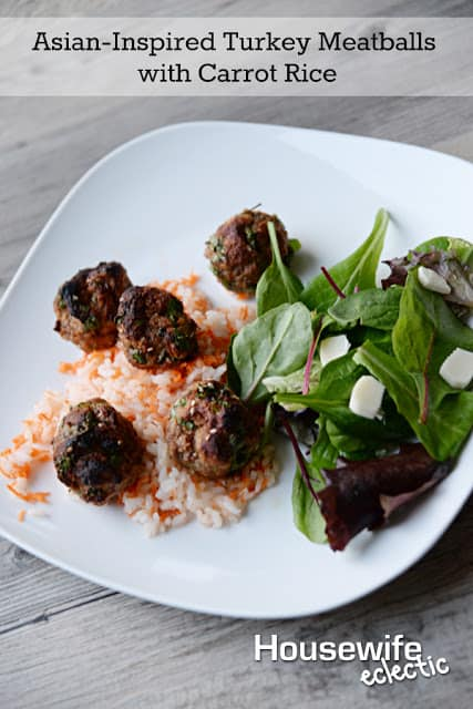Asian-Inspired Turkey Meatballs with Carrot Rice - Housewife Eclectic