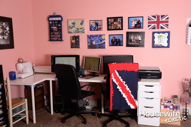 Doctor who craft room tour housewife eclectic for Eclectic crafts room
