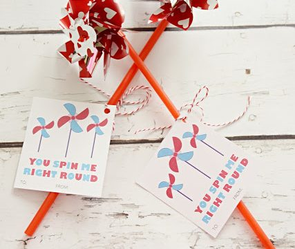 You Spin Me Right Round- Pinwheel Valentine with Free Printable