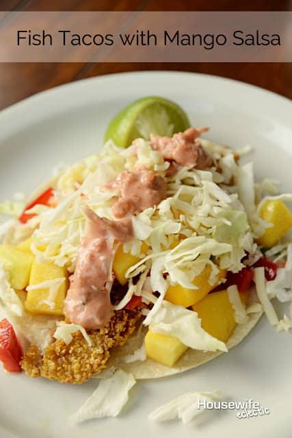 Gluten free fish tacos with mango salsa housewife eclectic for Fish tacos with mango salsa