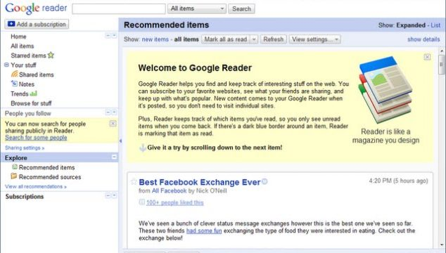 Wotw: Feed me… Google Reader
