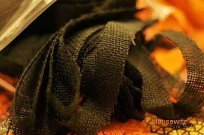 Black Burlap Strips for a Burlap Halloween Wreath