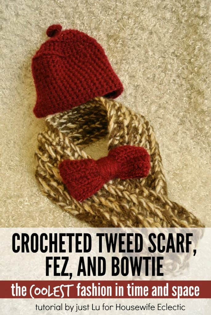 11th Doctor Crocheted Tweed Scarf Bowtie And Fez Housewife Eclectic