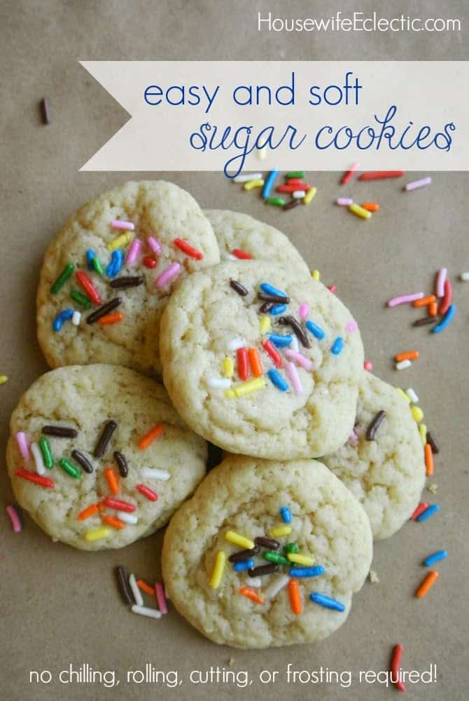 No frosting required! Yummy and easy sugar cookies - no chilling, rolling, or cutting the dough!