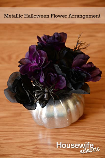 Take a dollar store pumpkin and with a little paint you can have this gorgeous Metallic Pumpkin flower arrangement. Perfect centerpiece for Halloween.