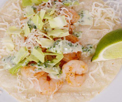 Shrimp Tacos with Creamy Cilantro Lime Sauce