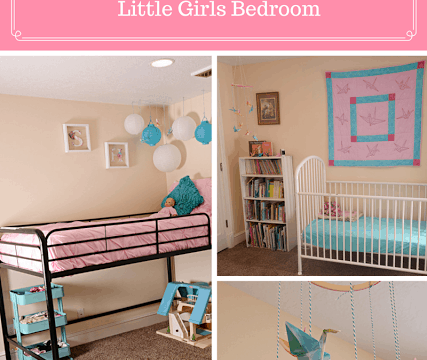 Pink and Turquoise Paper Crane Little Girls Bedroom