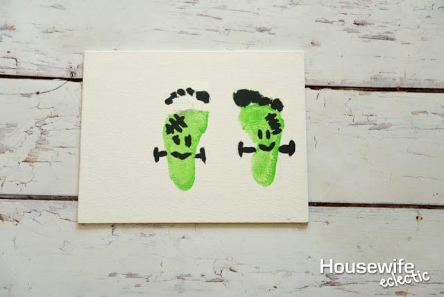 Frankenstein Footprints to remember Baby's First Halloween