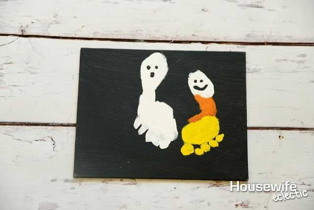 Candy Corn footprint to remember Baby's First Halloween
