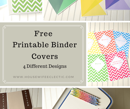Free Printable Binder Covers (4 Different Designs)