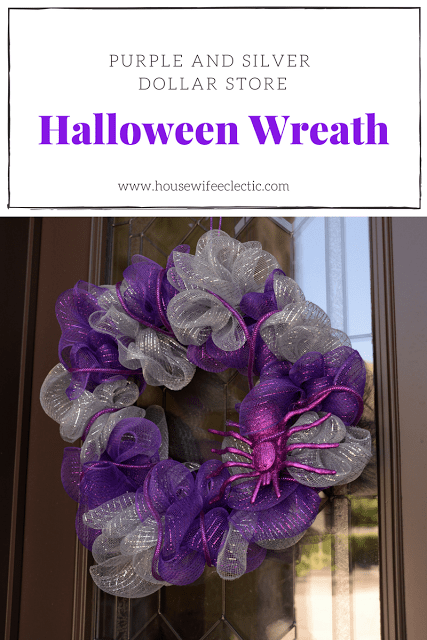 Gorgeous Purple and Silver Dollar Store Halloween Wreath