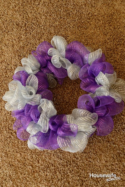 Purple and Silver Dollar Store Halloween Wreath