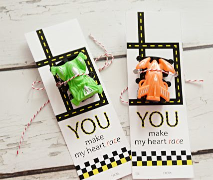 You Make My Heart Race- Free Printable Car Valentine