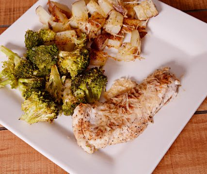 One-Pan Parmesan Chicken, Potatoes and Broccoli