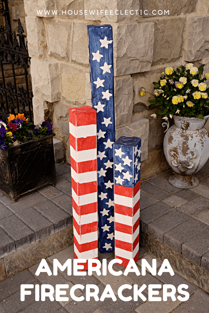 Americana Wood Firecrackers 4th Of July Porch Decor With Cricut Explore Housewife Eclectic