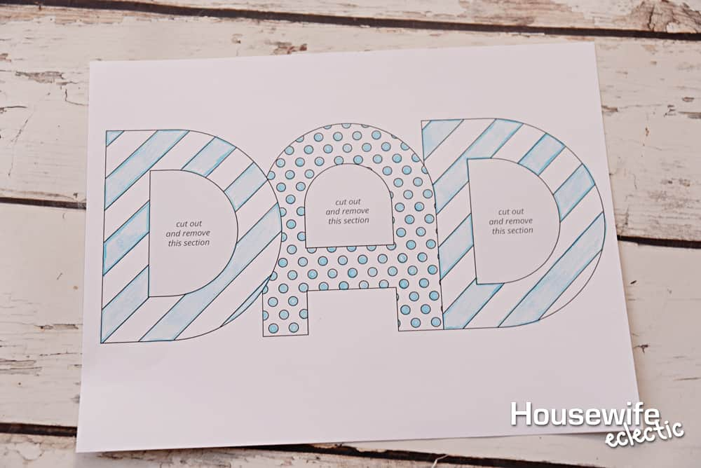 4 easy fathers day gift with free printables housewife eclectic cut the frame out as well as the centers of the letters spiritdancerdesigns Gallery