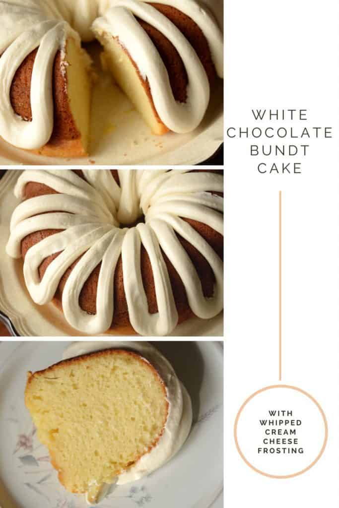Copycat Nothing Bundt Cakes White Chocolate Bundt Cake with Cream Cheese Frosting.