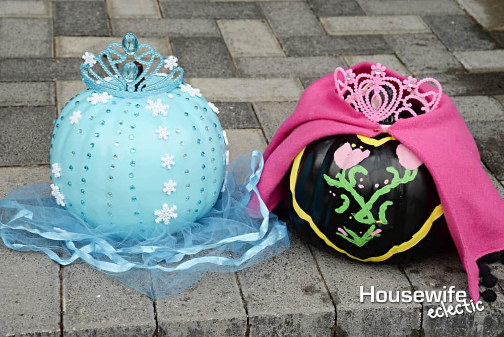 No Carve Frozen Pumpkins - Elsa and Anna Pumpkin