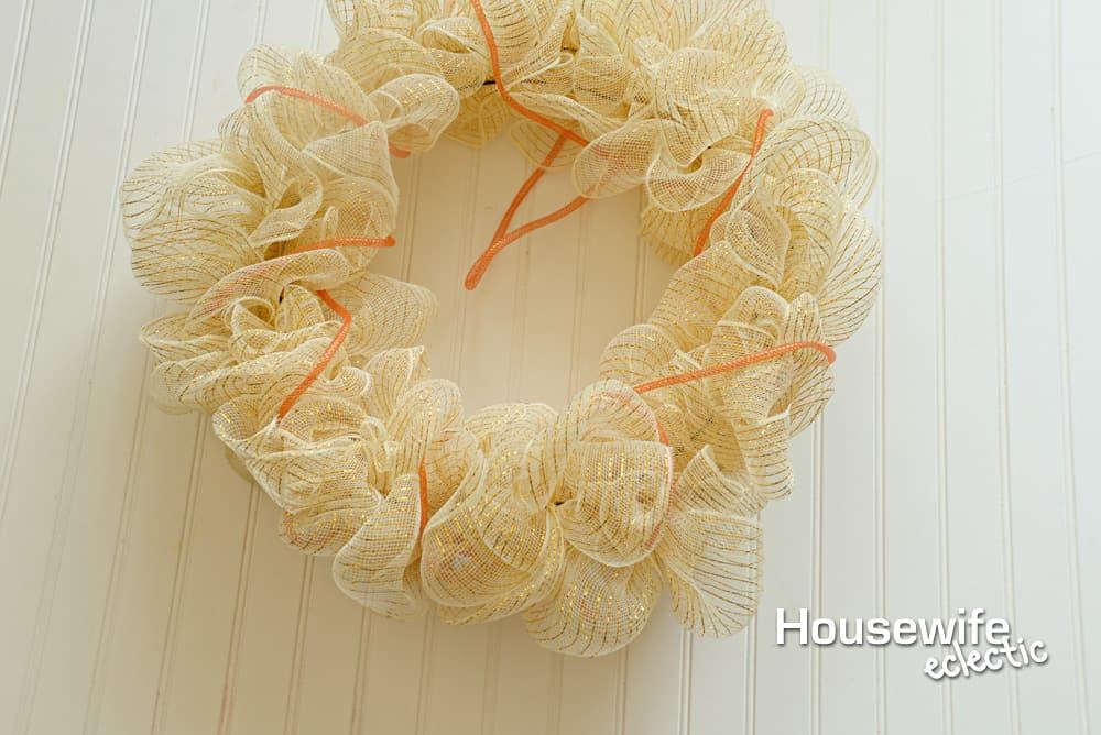 Gold and Orange Fall Mesh Wreath