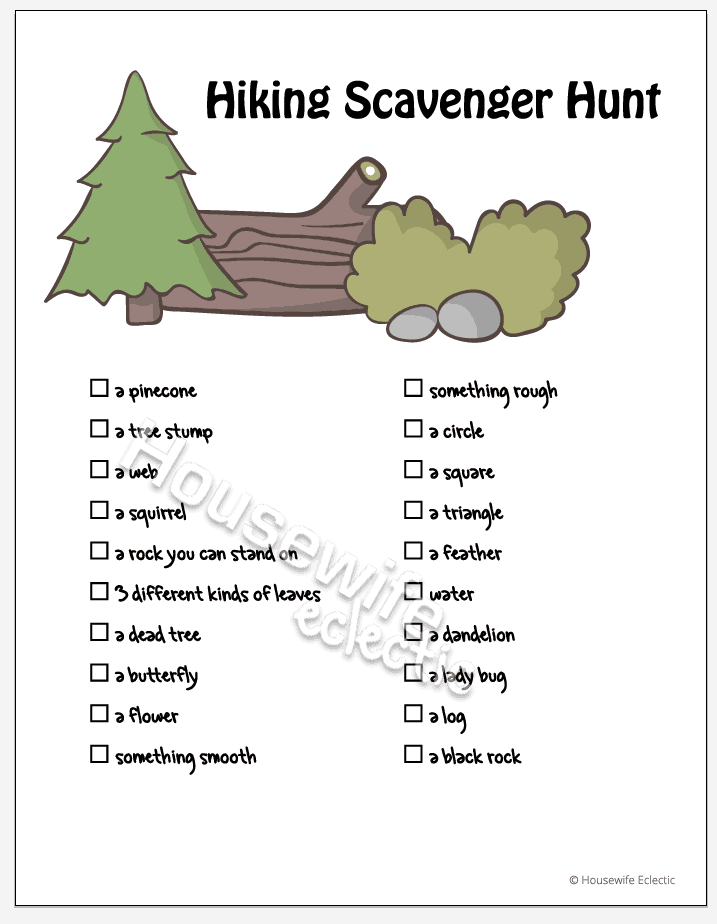 Tips For Hiking with Kids : Hiking Scavenger Hunt