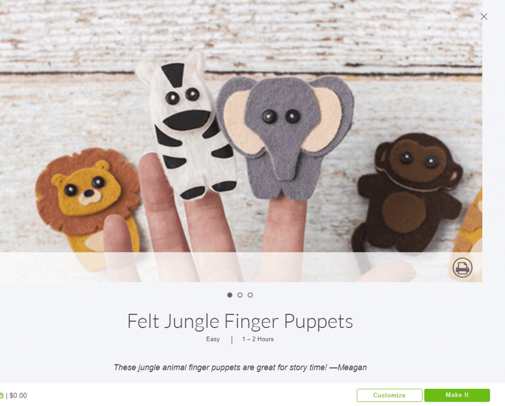 Felt Jungle Finger Puppets from Cricut Design Space