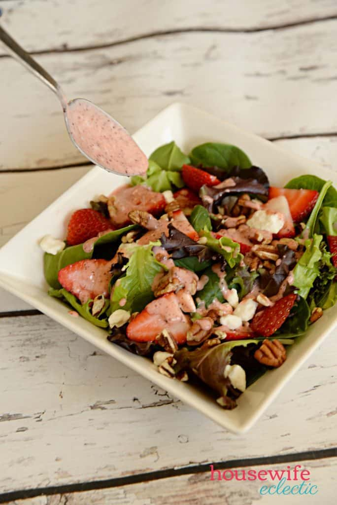 Strawberry Poppyseed Salad with homemade strawberry poppyseed dressing