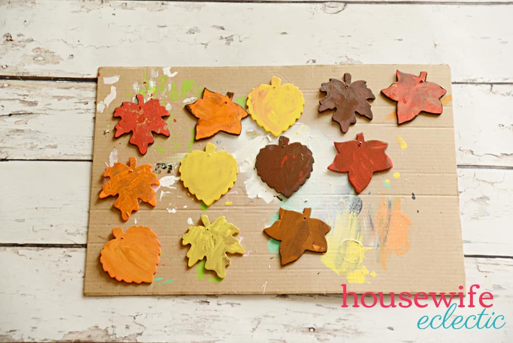 Fall Leaf Garland : Painted Wood Leaves