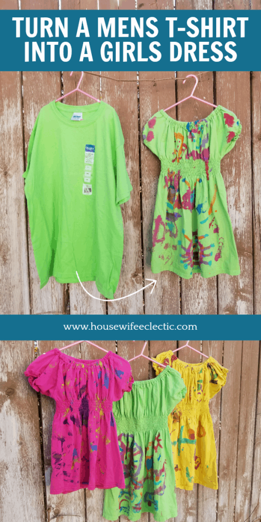 Follow this easy sewing tutorial to make a girls peasant-style play dress from a men's t-shirt in under an hour! All you need is a shirt, elastic, and elastic thread. Full tutorial on HousewifeEclectic.com.