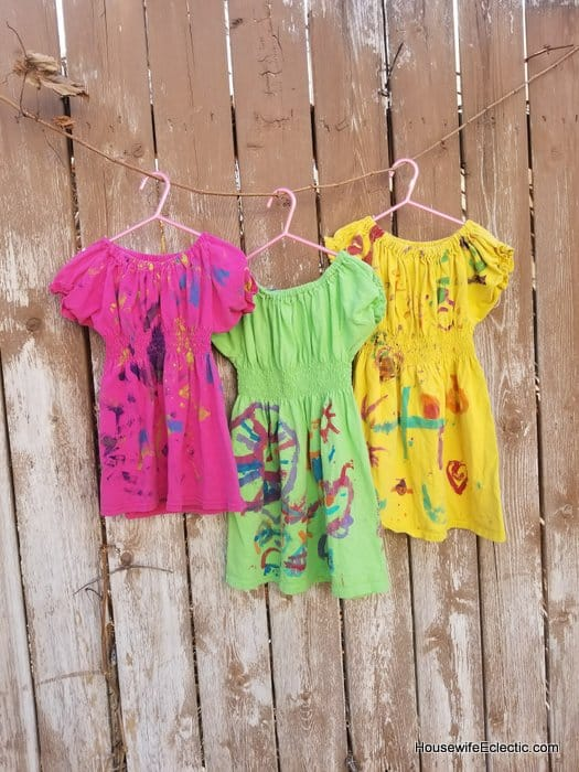 girls play dress from mens tshirt, custom painted easy sewing tutorial