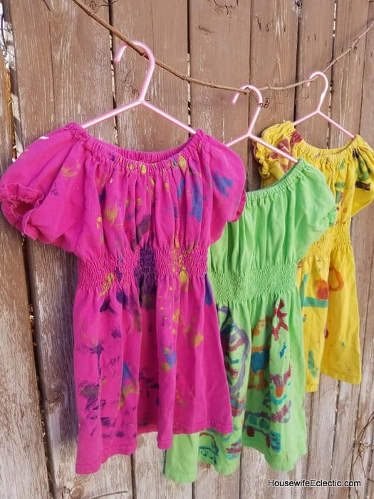 girls play dress from mens tshirt, painted birthday shirt dresses