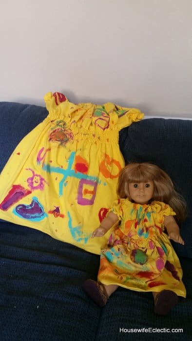 painted tshirt dress for birthdays with matching doll dress HousewifeEclectic (9)