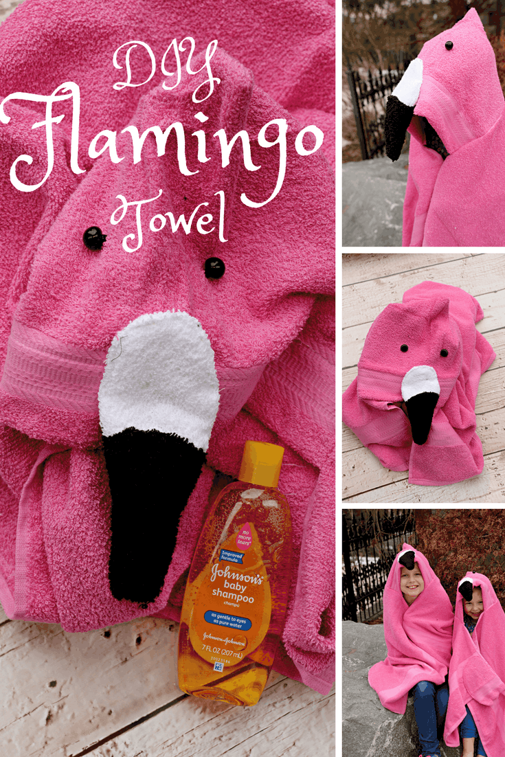 DIY Flamingo Hooded Towel