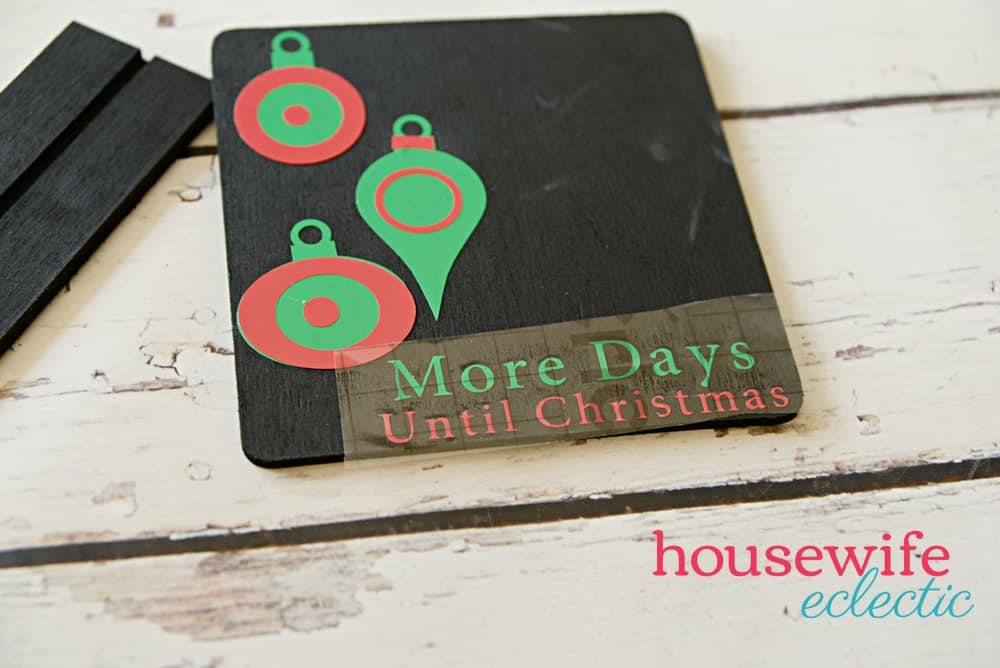 Chalkboard Christmas Countdown : Using Transfer Tape