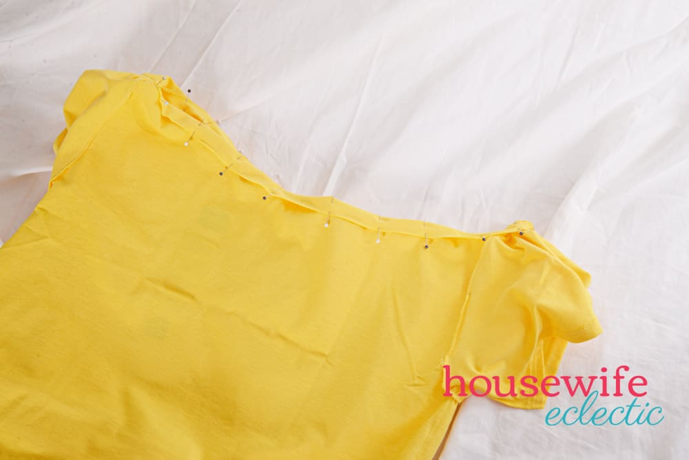DIY Belle Dress- pin the neckline