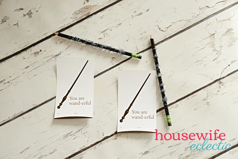 You are Wander-Ful Harry Potter Valentine - Homemade Pencil Wands