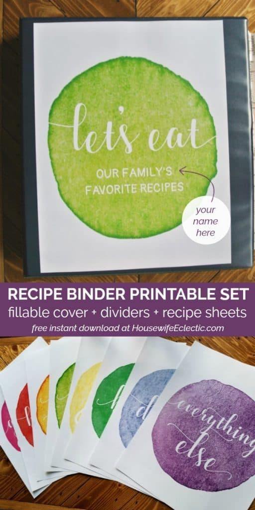 printable recipe binder dividers fillable cover recipe sheet