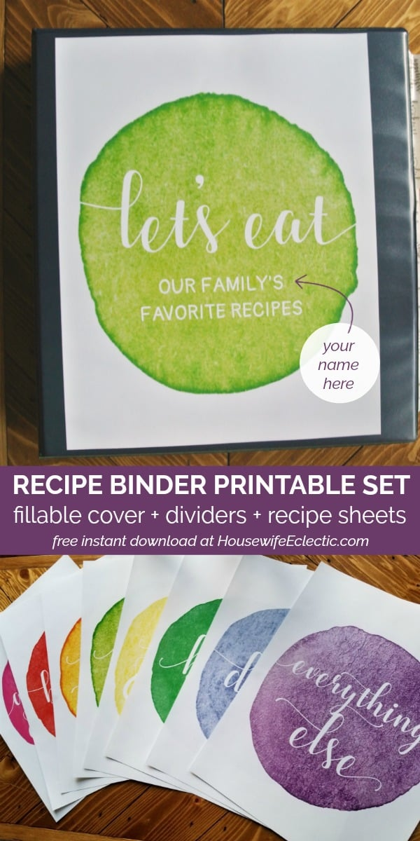 free printable recipe binder set with fillable cover dividers and