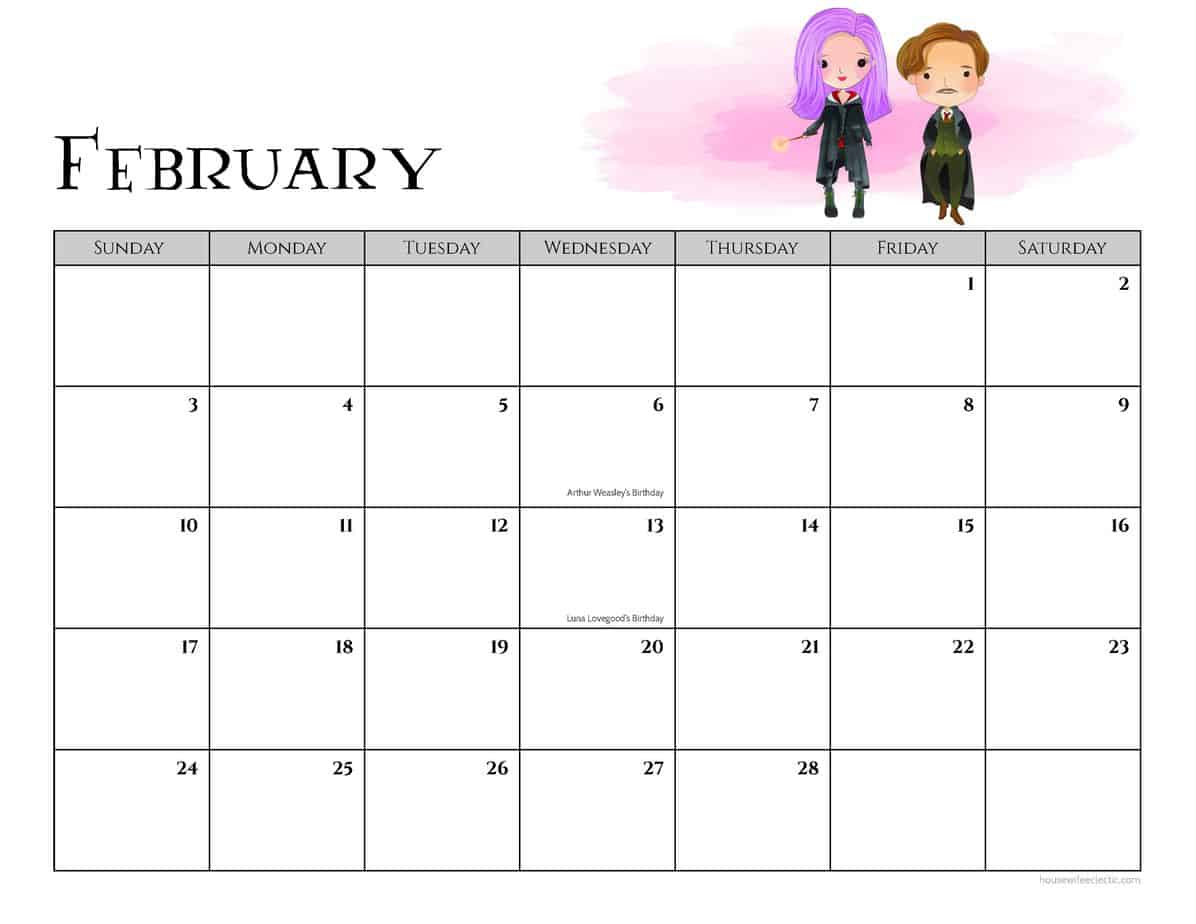 Housewife Eclectic: Free Harry Potter 2019 Printable Calendar
