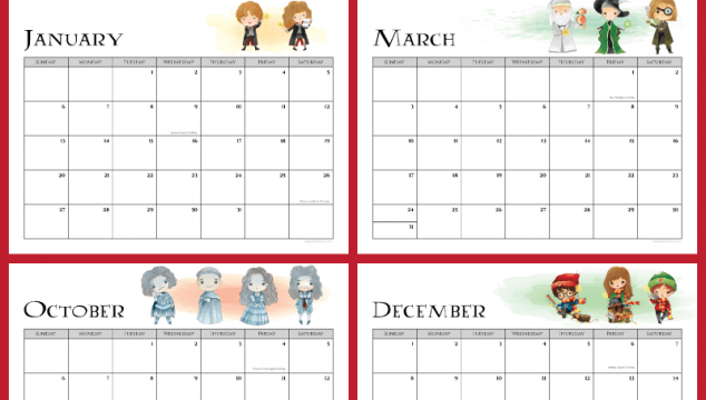 Free Harry Potter 2019 Printable Calendar
