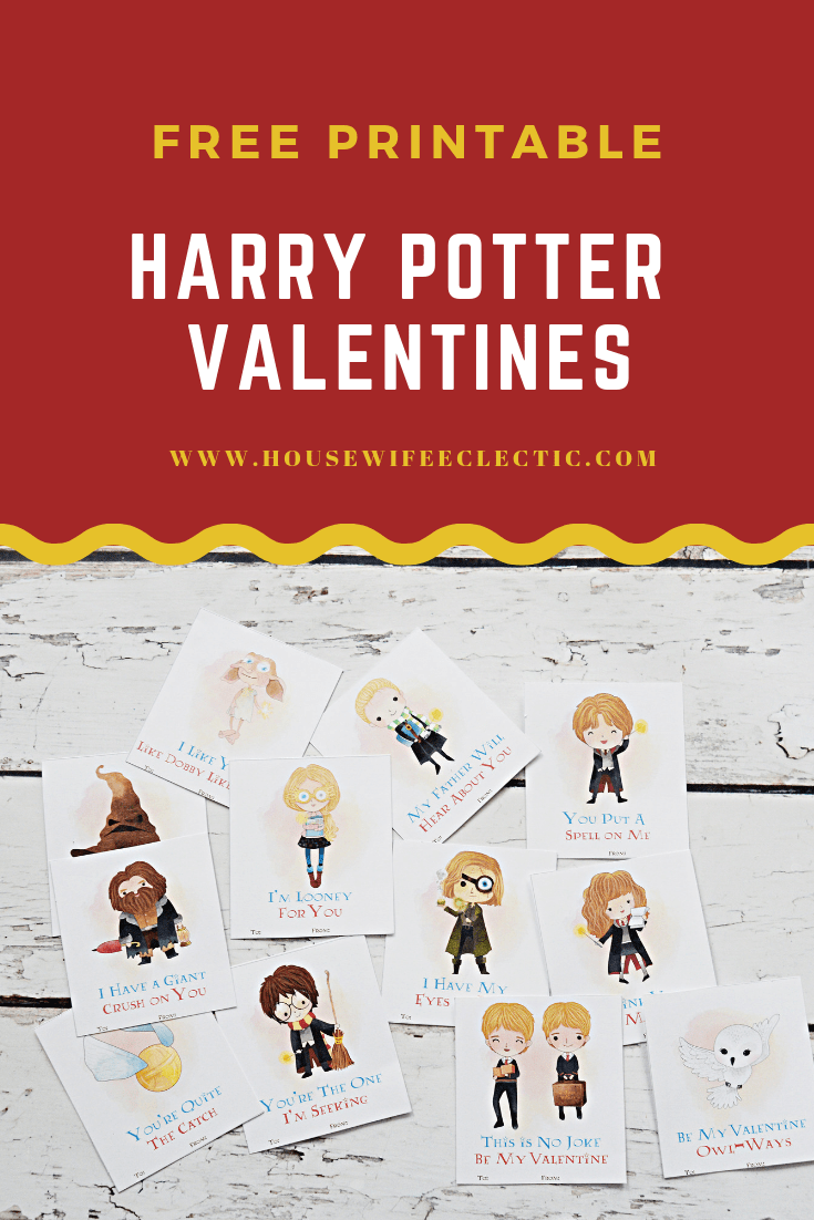 image relating to Free Printable Valentines identified as No cost Printable Harry Potter Valentines - Housewife Eclectic