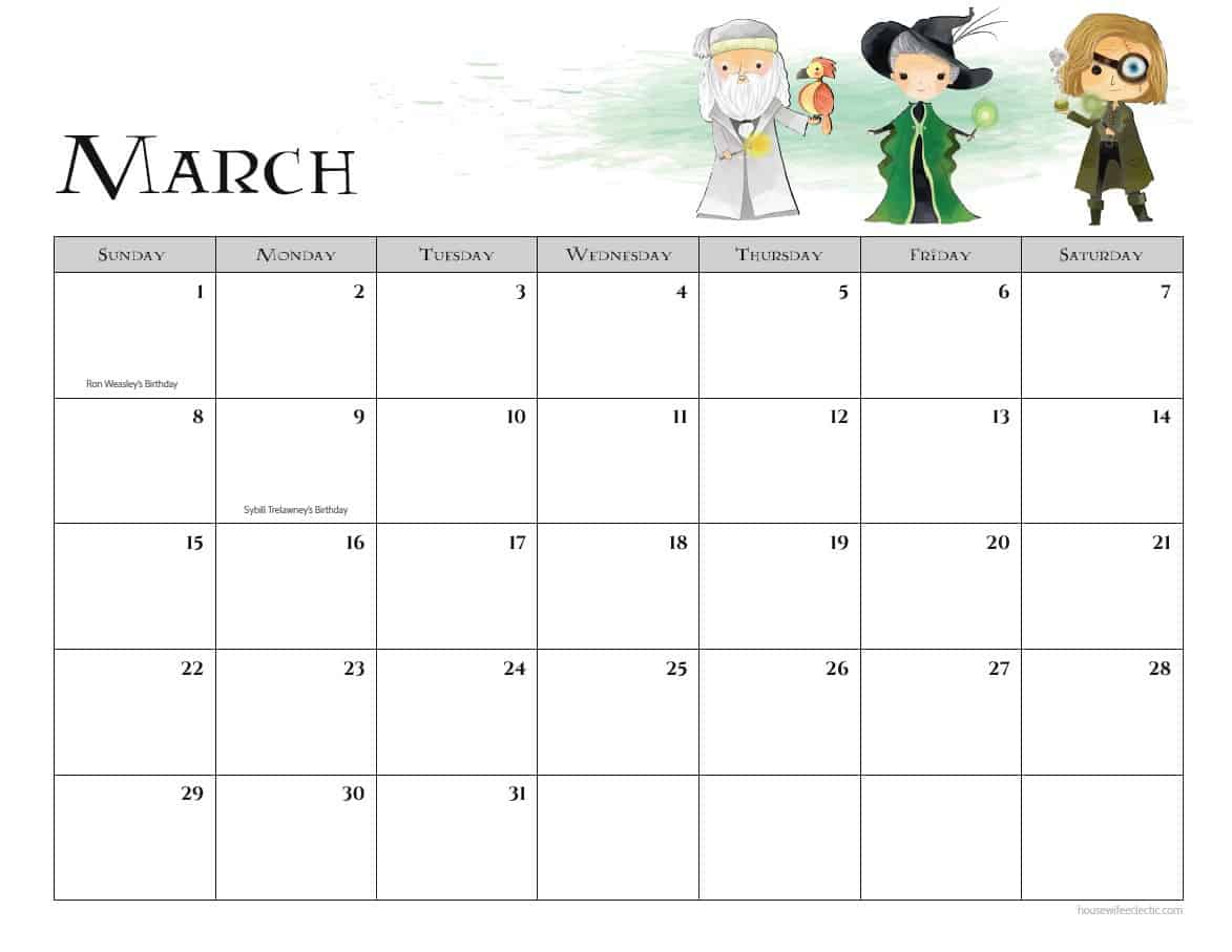 March Printable Calendar 2020.Free Harry Potter 2020 Printable Calendar Housewife Eclectic