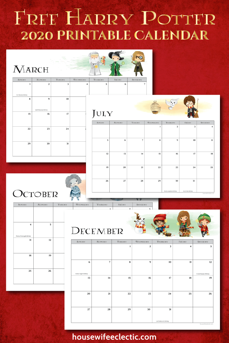 Housewife Eclectic: Free Harry Potter 2020 Printable Calendar