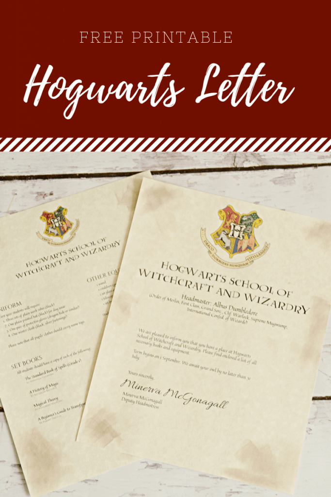 Housewife Eclectic: Printable Hogwarts Letter